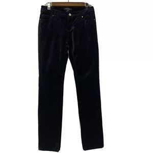 WHBM Black Velvet Slim Leg Pants Embellished 2
